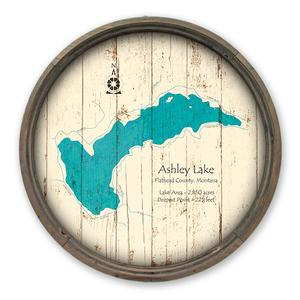 Vintage signs made in usa from meissenburg designs customization ashley lake mt map on a barrel end by lake art lake art llc gumiabroncs Image collections